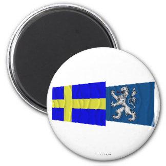 Banderas que agitan del län de Suecia y de Halland Imán Redondo 5 Cm