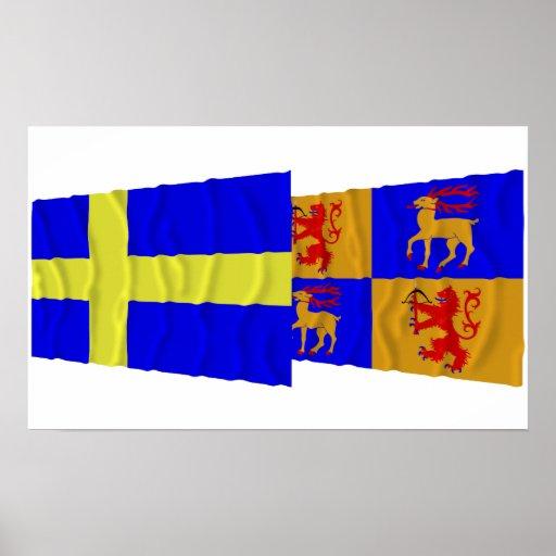 Banderas que agitan del län de Suecia y de Kalmar Impresiones