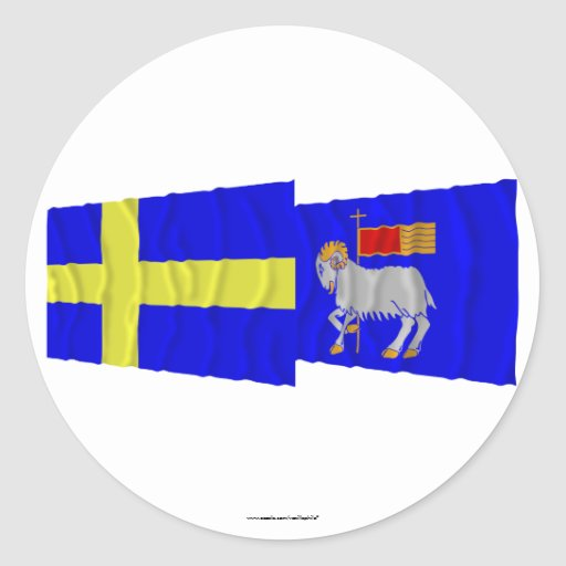 Banderas que agitan del län de Suecia y de Pegatina Redonda
