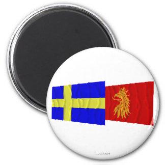 Banderas que agitan del län de Suecia y de Skåne Imán Redondo 5 Cm