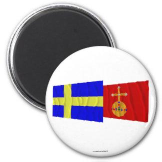 Banderas que agitan del län de Suecia y de Uppsala Imán Redondo 5 Cm