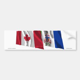 Banderas que agitan del territorio de Canadá y del Pegatina Para Auto
