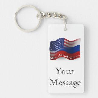 Banderas que agitan Ruso-Americanas Llavero Rectangular Acrílico A Doble Cara