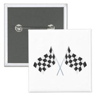 banderas que compiten con a cuadros gráficas pin cuadrada 5 cm