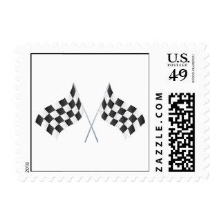 banderas que compiten con a cuadros gráficas timbre postal