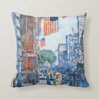 Banderas, Quinta Avenida, Hassam, impresionismo Almohadas