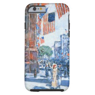 Banderas, Quinta Avenida, Hassam, impresionismo Funda Para iPhone 6 Tough