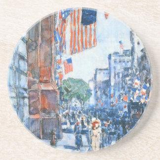 Banderas, Quinta Avenida, Hassam, impresionismo Posavaso Para Bebida