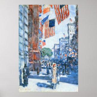 Banderas, Quinta Avenida, Hassam, impresionismo Póster