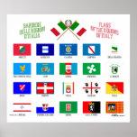 Banderas regionales de Italia Posters