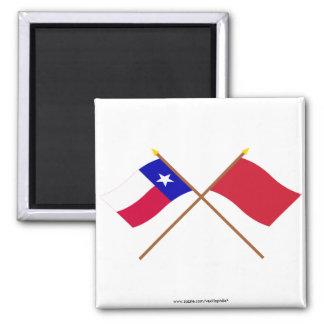 Banderas rojas cruzadas de los vagabundos de Tejas Iman De Nevera
