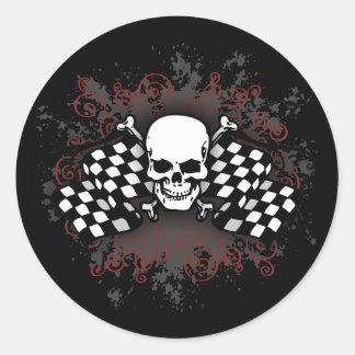 banderas-splat Cráneo-a cuadros Pegatina Redonda