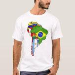 Banderas suramericanas del mapa de la bandera de playera