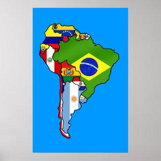 Banderas suramericanas del mapa de la bandera de S Poster