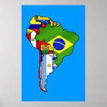 Banderas suramericanas del mapa de la bandera de S Póster