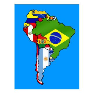 Banderas suramericanas del mapa de la bandera de S Postales