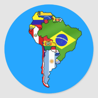 Banderas suramericanas del mapa de Suramérica Etiqueta Redonda