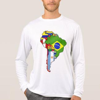 Banderas suramericanas del mapa de Suramérica Camiseta