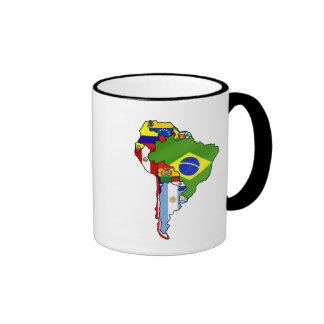 Banderas suramericanas del mapa de Suramérica Tazas