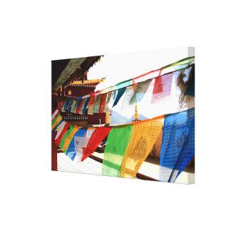 Banderas tibetanas del rezo, budhism, Buda, rezo Impresion De Lienzo