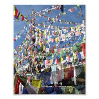 Banderas tibetanas del rezo fotografías