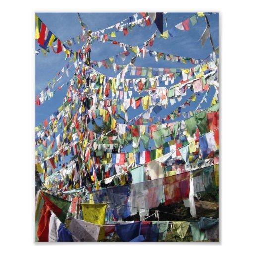 Banderas tibetanas del rezo fotografia