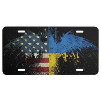 Banderas ucranianas americanas de Eagle de la Placa De Matrícula