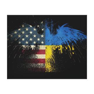 Banderas ucranianas americanas lona estirada galerías