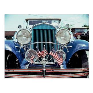 Banderas y fotografía clásica del coche del cromo postales