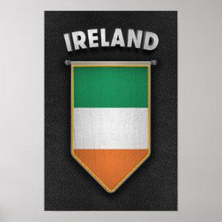 Banderín de Irlanda con la mirada de cuero de alta Póster
