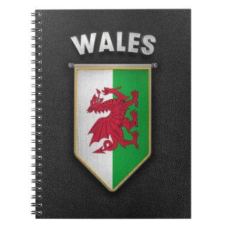Banderín de País de Gales con la mirada de cuero Note Book