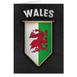 Banderín de País de Gales con la mirada de cuero Tarjeta De Felicitación