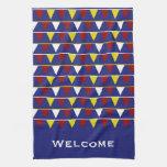 Banderines náuticos en azul toallas