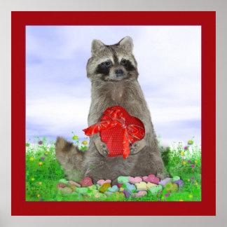 Bandido del mapache de la tarjeta del día de San V Posters