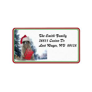 Bandido del mapache de Santa del navidad Etiquetas De Dirección