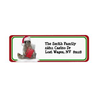 Bandido del mapache de Santa del navidad Etiquetas De Remite