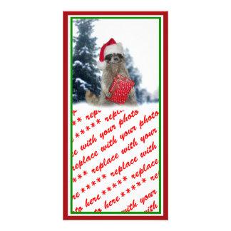 Bandido del mapache de Santa del navidad Tarjeta Fotografica Personalizada