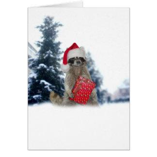 Bandido del mapache de Santa del navidad Tarjeta De Felicitación