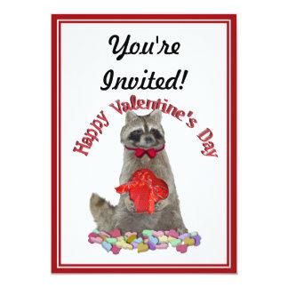 """Bandido del mapache del el día de San Valentín Invitación 5"""" X 7"""""""