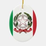 Bandiera Italiana - bandera del estado de Italia Adorno Navideño Ovalado De Cerámica