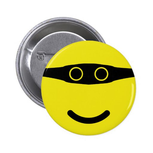 bandit smile smiley yellow 2 inch round button