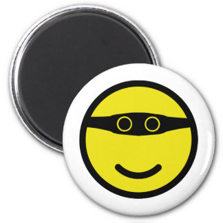bandit smile smiley yellow 2 inch round magnet