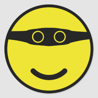 bandit smile smiley yellow classic round sticker