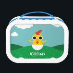 """Bandit the Chick Lunch Box<br><div class=""""desc"""">Bandit the chick is young,  open-minded,  and sometimes naive. He loves corn kernels like all of the chickens,  and he still sometimes sits in his original eggshell—it&#39;s like a safety blanket to him. Though young,  he&#39;s a Scorpio and he is always interested in new ideas.</div>"""
