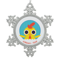Bandit the Chick Snowflake Pewter Christmas Ornament