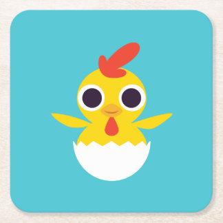Bandit the Chick Square Paper Coaster