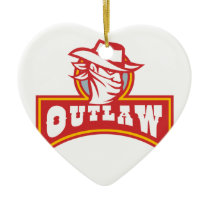Bandit With Outlaw Text Retro Ceramic Ornament