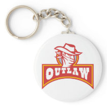 Bandit With Outlaw Text Retro Keychain