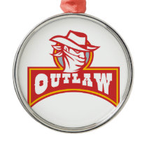 Bandit With Outlaw Text Retro Metal Ornament