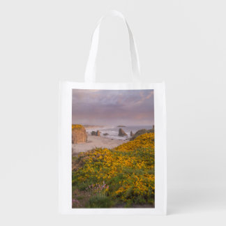 Bandon Beach Offshore Rocks Yellow Flowering Gorse Reusable Grocery Bag